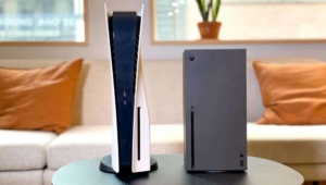 Xbox Series X & PlayStation 5 on Lounge Table