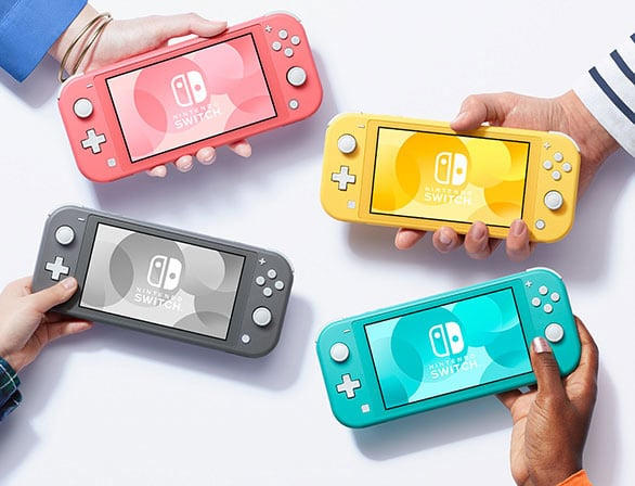 Nintendo Switch Lite in red, grey, turquoise and yellow