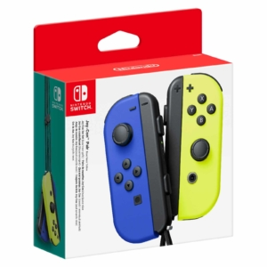 Nintendo Switch Neon Blue and Neon Yellow Joy-Con Controller Set Box View