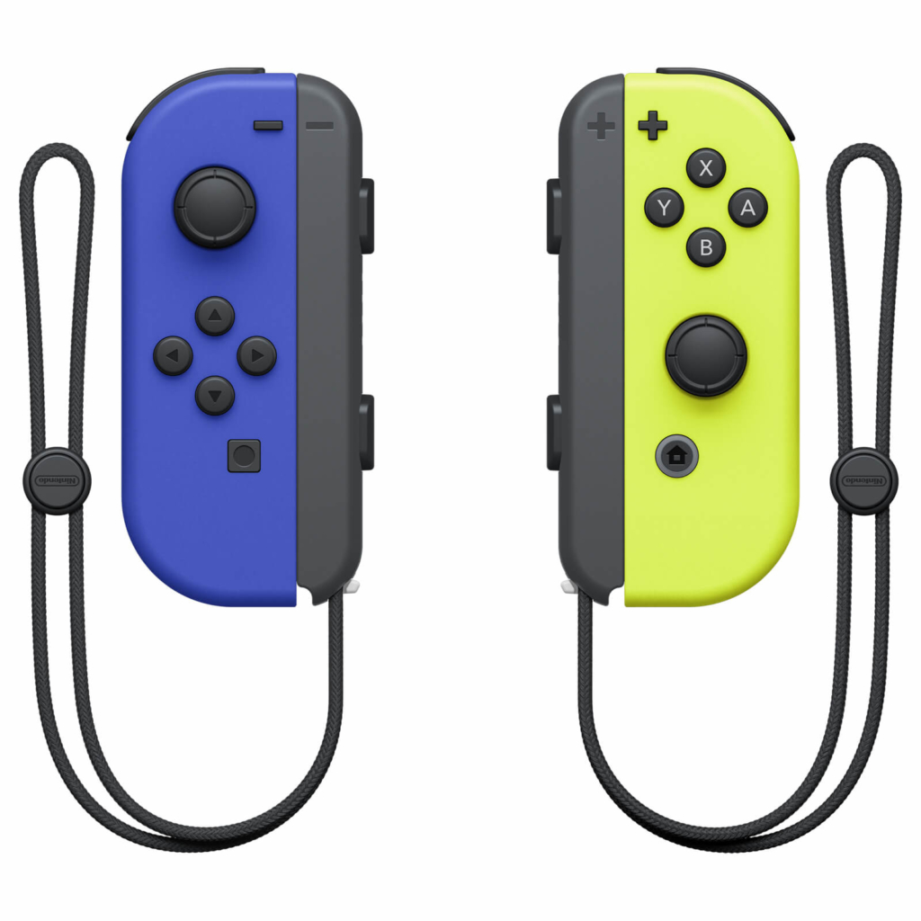 Nintendo Switch Neon Blue and Neon Yellow Joy-Con Controller Set View