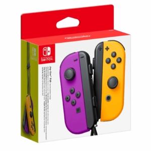 Nintendo Switch Neon Purple and Neon Orange Joy-Con Controller Set Box View