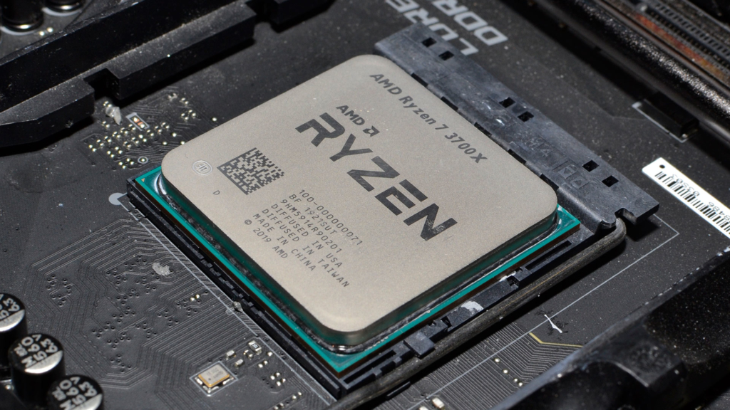 AMD Ryzen 7 3700X Processor on motherboard