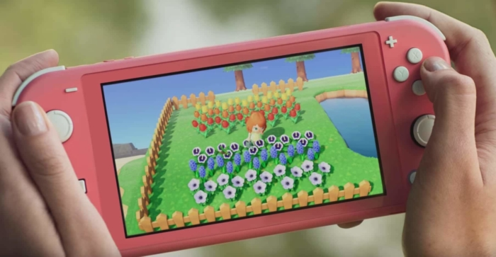Coral Nintendo Switch Lite In-use