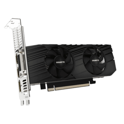 Gigabyte GeForce GTX 1650 D6 OC Low Profile 4G Angled Fan View
