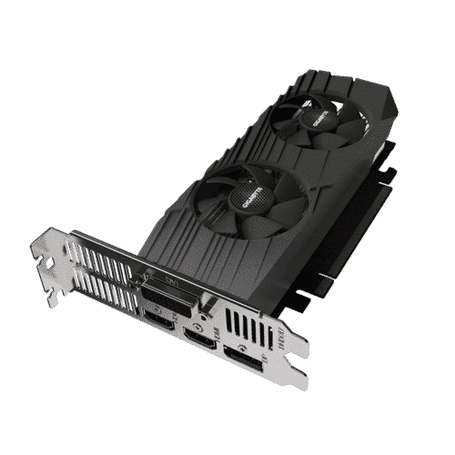 Gigabyte GeForce GTX 1650 D6 OC Low Profile 4G Angled View