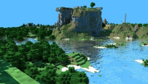 Minecraft Lake with ray-tracing