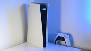 PlayStation 5 in corner with blue backlight