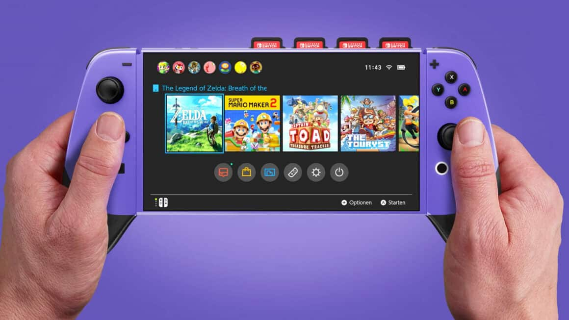 Super Nintendo Switch Concept Art - In-action Front View