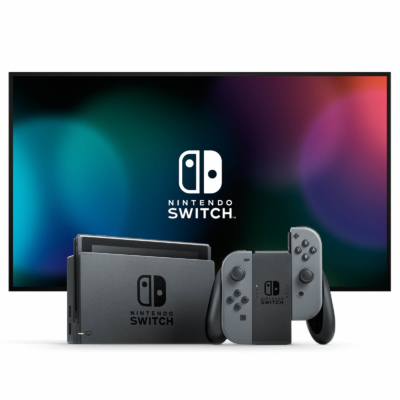 Nintendo Switch with Grey Joy-Con Controllers Lifestyle Image