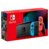 Nintendo Switch with Neon Blue and Neon Red Joy-Con Controllers Box View