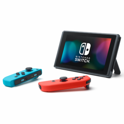 Nintendo Switch with Neon Blue and Neon Red Joy-Con Controllers Promo View