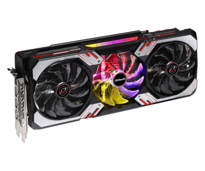 ASRock AMD Radeon RX 6800 XT Phantom Gaming Angled Fan View