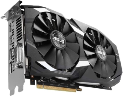 Asus Radeon RX 580 Dual 8GB OC Angled View