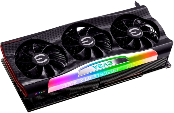 EVGA GeForce RTX 3080 FTW3 ULTRA Rear Angled View