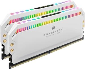 CORSAIR Dominator Platinum White RAM Kit Angled Upright View