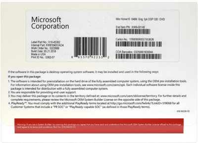 Windows 10 Home Edition OEM Box