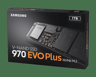 Samsung 970 EVO Plus 1TB Angled Box View
