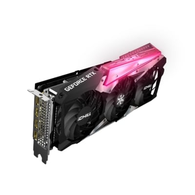 Inno3D RTX 3060 TI iCHILL X3 RED Angled Vertical View