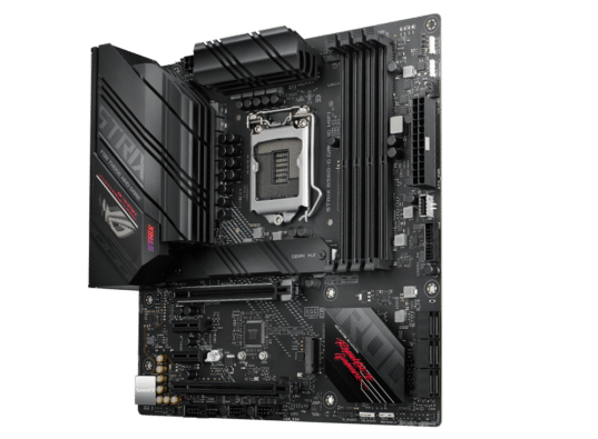 ASUS ROG Strix B560-G Gaming WiFi Vertical Angled View
