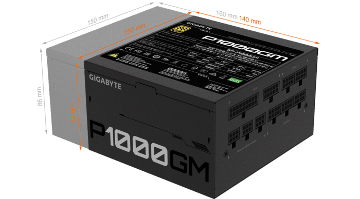 GIGABYTE P1000GM 1000W PSU Dimensions Illustration