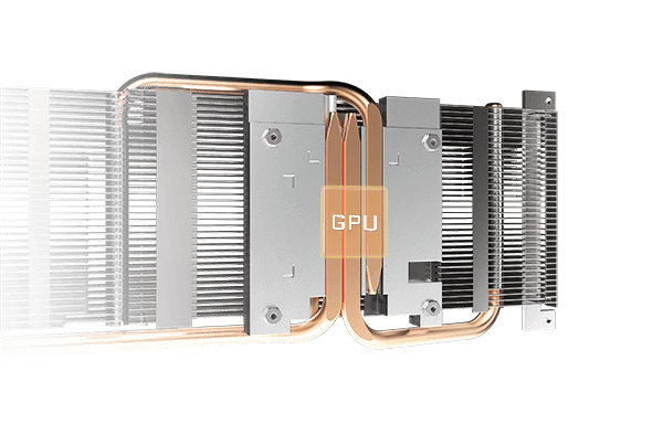 Gigabyte RX 6600 XT Eagle Heat Pipes View