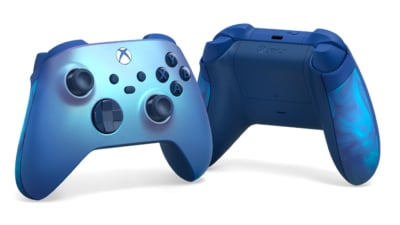 Xbox Aqua Shift Wireless Controller Front and Back View
