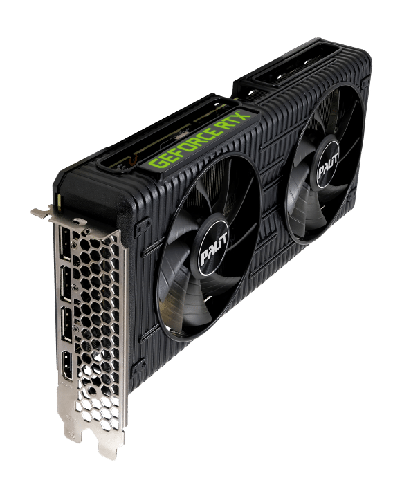 Palit RTX 3060 Dual 12G Vertical Angled Fan View