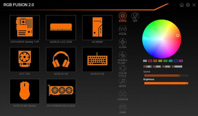 GIGABYTE RGB FUSION 2.0 Screenshot